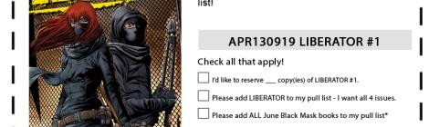 Liberator #1 Pre-order form : APR130919