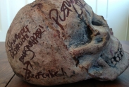 ORIGINAL STAGE USED PROP: Osama Bin Laden's skull, from the WAR PARTY tour. STILL BLOODY!